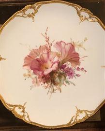 Antique KPM  Art Nouveau Porcelain Plate with Floral Scene (set of 4)