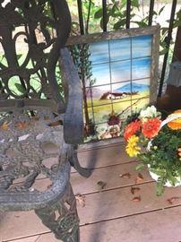 Framed glazed tile mosaic and detail of black metal garden set; see other photos