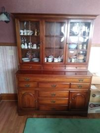 Solid wood with bowed glass hutch