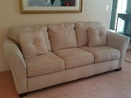 """Beige Suede Couch 86""""Lx36""""Wx35""""H"""