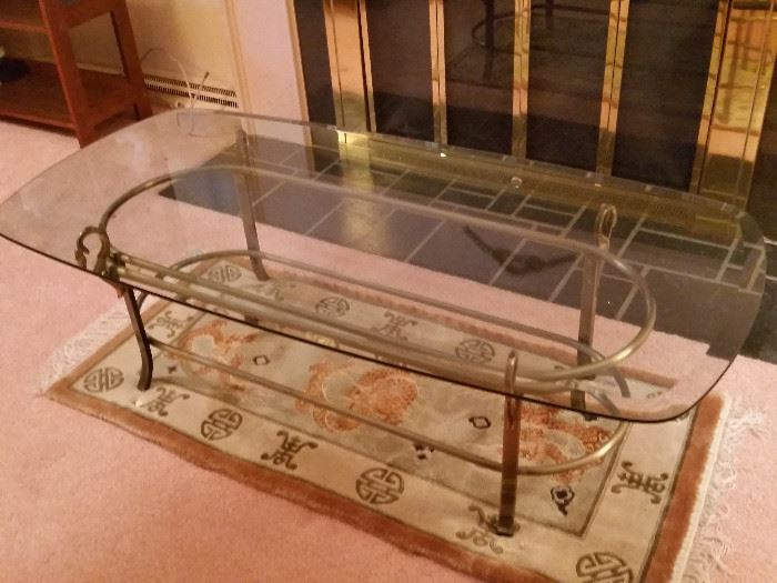 "Coffee Table - Beveled Glass & Brass 54""Lx26""Wx16""H, Oriental Table Rug"