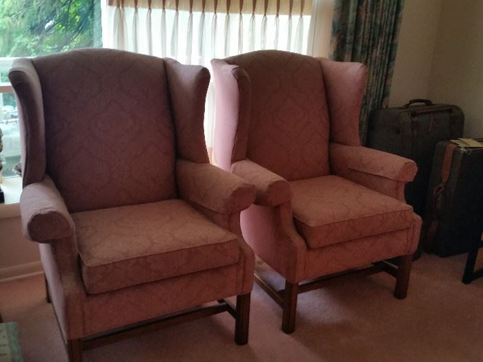 "Pair Wingback Living Chairs 34""Lx33""Wx40""H"