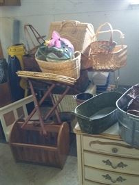 Baskets galore, and many more items in garage