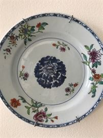 One of six Chinese plates, unmarked.  Delicate, ca 19th c.