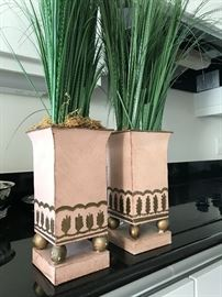 Handpainted metal accent planters