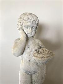 Concrete/cast limestone garden cherub, pair (Putti)