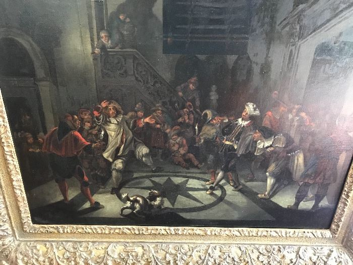 Jan Jozef Horemans, Flemish school 17th c. oil on canvas, Night Carnival Scene. Provenance: Salomon Lilian.