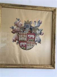 Armorial crest/heraldic silk embroidery