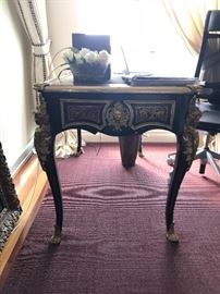 Louis XV Style Desk. Gilt ormalu and figural crested cabriole legs - outstanding power desk!