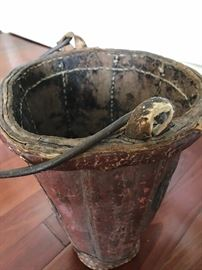 Early 19th c. or late 18th leather fire brigade bucket for water