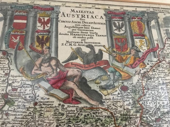 Austrian Map 1722 hand colored cartouche