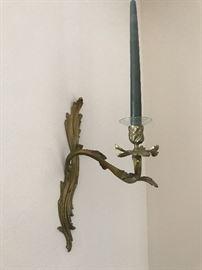 Bronze foliate sconces, pair (single shown)