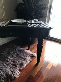 Fossil veneer 'zebra' designer table.