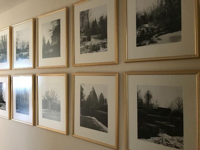 Suite of ten (10) black/white original photographs, framed, winter scene, Switzerland.