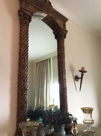 Tall hall mirror, carved 'pineapple' leaf columns with romanesque cornice frame