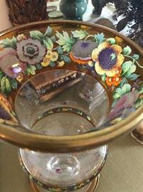 Czech Bohemian handpainted glass hurricanes/vases (pair)