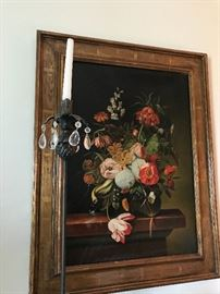 20th c. oil after Dutch  master still life shown with single stiletto wrought iron candle stick