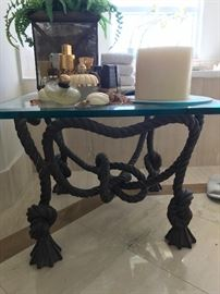 Heavy wrought iron rope and tassel table with glass