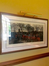 """Large framed engraving by W. Summer, painted by John Sturgess, """"Fox- hunting, Plate 4. The End Of A Good Run""""  4'10"""" x 3'"""