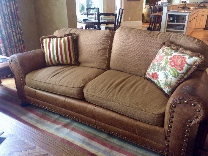 Leather & fabric sofa