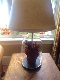 Pair of cloche (glass domed) & red coral lamps