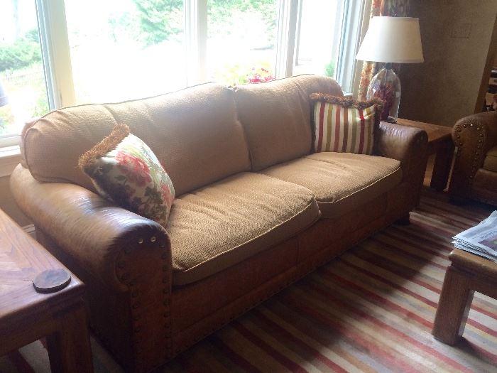 Leather & fabric sofa/sleeper