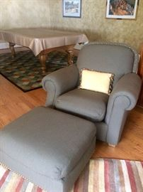 Chair & ottoman by Bradington Young  (the pool table in the background is not for sale).