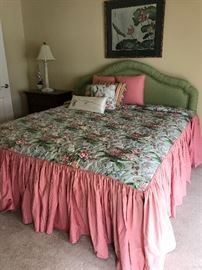 """King size upholstered headboard,  custom made bedspread & pillows (""""SOLD""""), Simmons king size mattress & boxspring"""