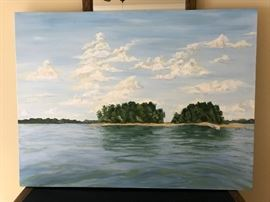 Large, 3x4' lake painting, oil on canvas