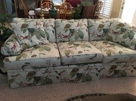 Bird and leaf print sofa - like new