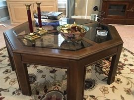 Octagon shape wood and glass coffee table