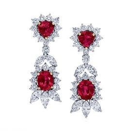 LOT487 Burmese Ruby  Diamond Earrings