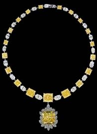 LOT878 Fancy Yellow Diamond NecklaceGIA