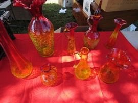 Large and small vintage Blenko crackle glass