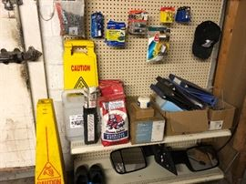 Misc. and several shelves with pegboard
