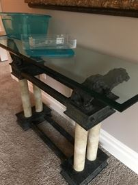lion table with glass top