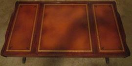 Leather top of coffee table