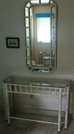 Iron bamboo glass top and shelf vanity table with mirror