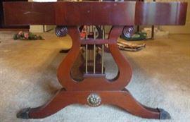 Lyre Duncan Phyfe style leather top coffee table