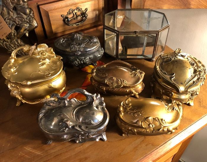 Large Collection of Lovely Art Nouveau Jewelry Caskets