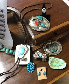 A very large collection of vintage sterling and turquoise