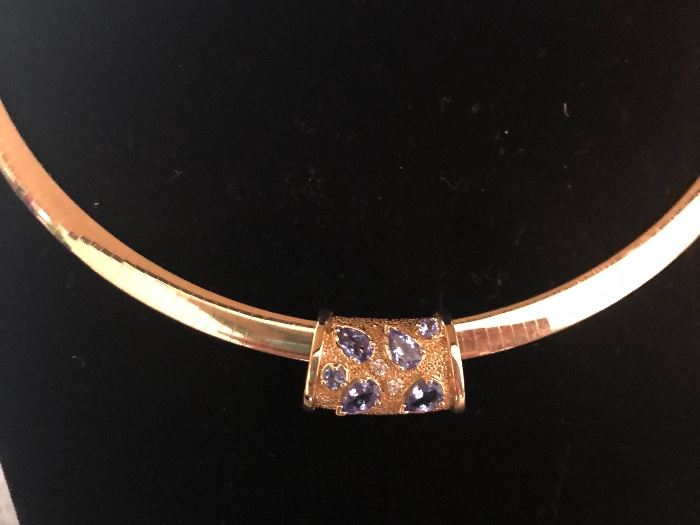 Stunning Reversible 6mm Omega with Custom Tanzanite and Diamond Slide