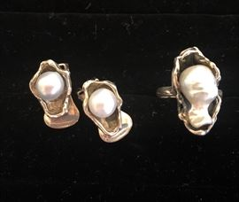 Incredible Vintage Christian Dior Sterling and Pearl Ring and Earrings
