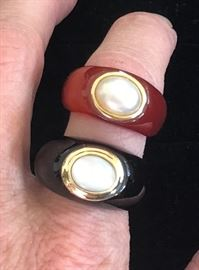 Incredibly Unique Ladies Rings Featuring 14kt Yellow Gold Bezel Set Pearls
