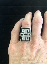 Vintage Sterling Onyx and Diamond Ring. A lovely, large look.