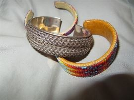 Sterling and beaded bracelets