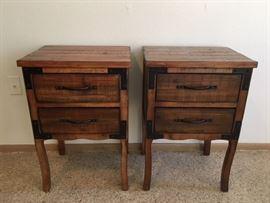 2 Rustic 2-Drawer Nightstands