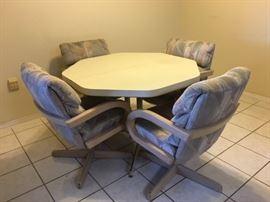 Octagonal Dinette w/ 4 Armchairs on Castors