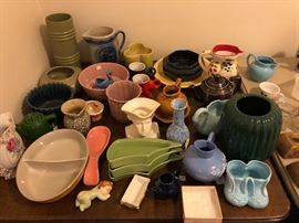 Vintage and modern pottery: Hull, McCoy, Shawnee, Stengel.