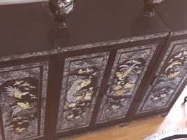 Large Asian Black Laquered with Mother of Pearl and Abalone Inlay 3-Piece Storage Cabinet/Chest/Armoire. Birds and Flower scene. 4 drawers, shelves and hanging bars. Height: 79 x Width 104.5 x Depth 26.5 inches.